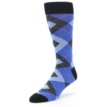 Image of Blue Gray Black Argyle Men's Dress Socks (side-2-front-08)