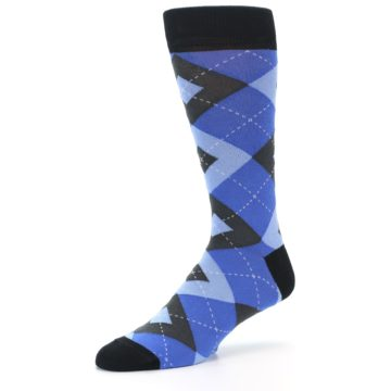 Image of Blue Gray Black Argyle Men's Dress Socks (side-2-09)