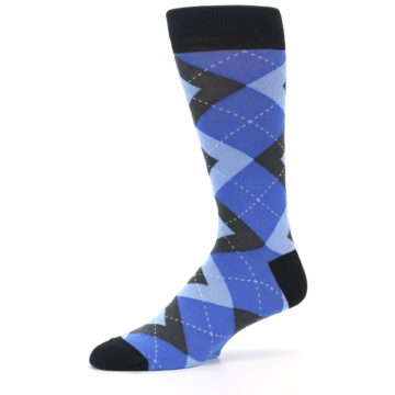 Image of Blue Gray Black Argyle Men's Dress Socks (side-2-10)