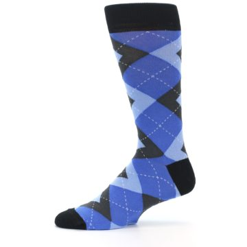 Image of Blue Gray Black Argyle Men's Dress Socks (side-2-11)