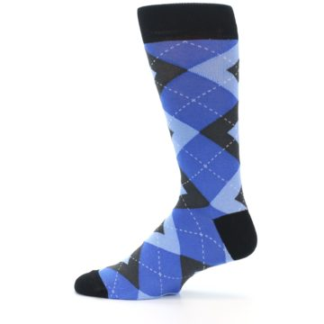 Image of Blue Gray Black Argyle Men's Dress Socks (side-2-12)