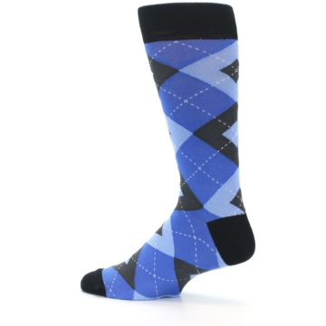 Image of Blue Gray Black Argyle Men's Dress Socks (side-2-13)