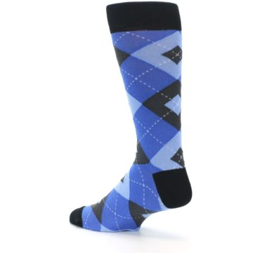 Image of Blue Gray Black Argyle Men's Dress Socks (side-2-back-14)
