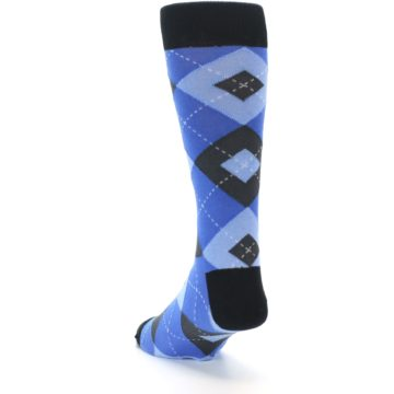 Image of Blue Gray Black Argyle Men's Dress Socks (side-2-back-16)