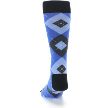 Image of Blue Gray Black Argyle Men's Dress Socks (back-17)