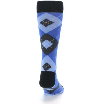 Image of Blue Gray Black Argyle Men's Dress Socks (back-19)