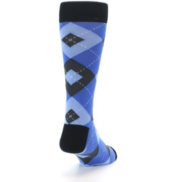 Image of Blue Gray Black Argyle Men's Dress Socks (side-1-back-20)