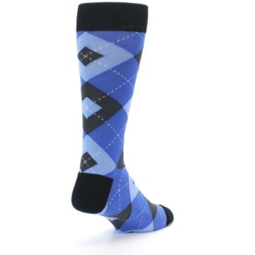 Image of Blue Gray Black Argyle Men's Dress Socks (side-1-back-21)