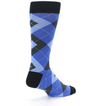 Image of Blue Gray Black Argyle Men's Dress Socks (side-1-back-22)