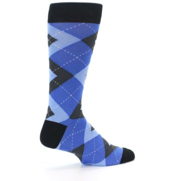 Image of Blue Gray Black Argyle Men's Dress Socks (side-1-23)