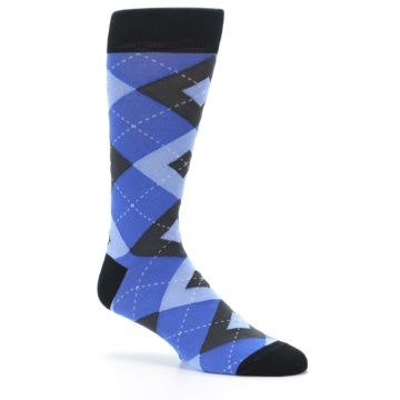 Image of Blue Gray Black Argyle Men's Dress Socks (side-1-26)