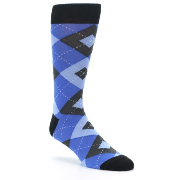 Image of Blue Gray Black Argyle Men's Dress Socks (side-1-27)