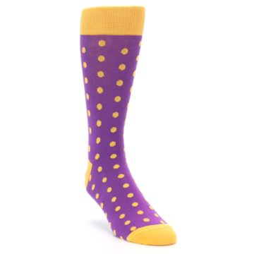Image of Purple Orange Polka Dots Men's Dress Socks (side-1-front-02)
