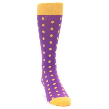 Image of Purple Orange Polka Dots Men's Dress Socks (side-1-front-03)