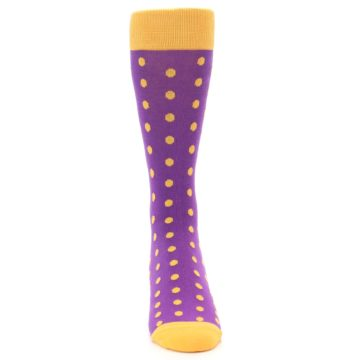 Image of Purple Orange Polka Dots Men's Dress Socks (front-04)