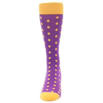 Image of Purple Orange Polka Dots Men's Dress Socks (front-05)