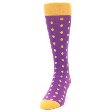 Image of Purple Orange Polka Dots Men's Dress Socks (side-2-front-06)