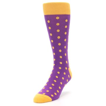 Image of Purple Orange Polka Dots Men's Dress Socks (side-2-front-07)