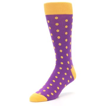 Image of Purple Orange Polka Dots Men's Dress Socks (side-2-front-08)