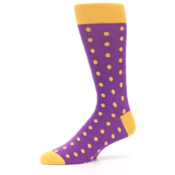 Image of Purple Orange Polka Dots Men's Dress Socks (side-2-10)