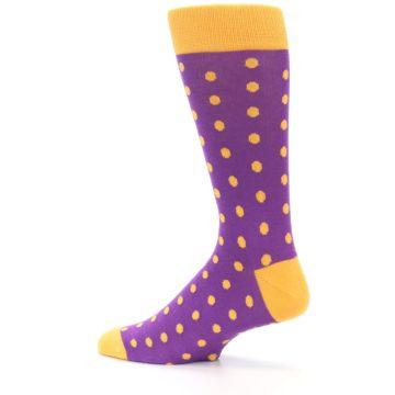 Image of Purple Orange Polka Dots Men's Dress Socks (side-2-13)
