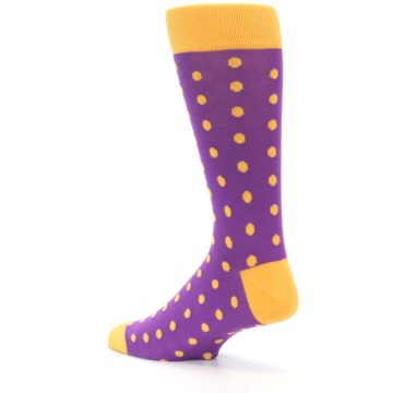 Image of Purple Orange Polka Dots Men's Dress Socks (side-2-back-14)