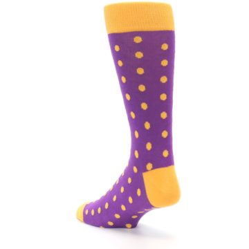 Image of Purple Orange Polka Dots Men's Dress Socks (side-2-back-15)
