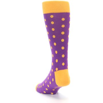Image of Purple Orange Polka Dots Men's Dress Socks (side-2-back-16)