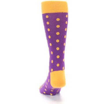 Image of Purple Orange Polka Dots Men's Dress Socks (back-17)