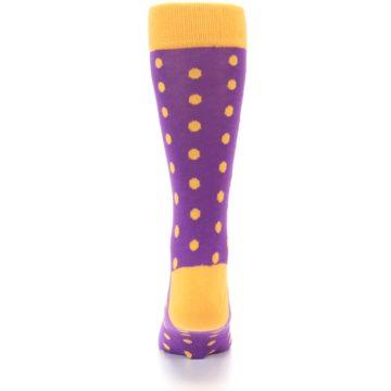 Image of Purple Orange Polka Dots Men's Dress Socks (back-18)