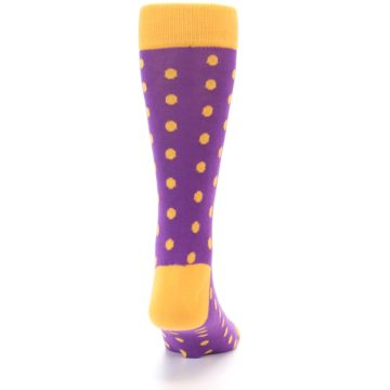 Image of Purple Orange Polka Dots Men's Dress Socks (back-19)