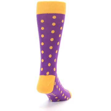 Image of Purple Orange Polka Dots Men's Dress Socks (side-1-back-20)