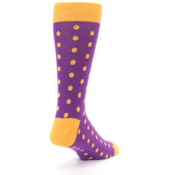 Image of Purple Orange Polka Dots Men's Dress Socks (side-1-back-21)