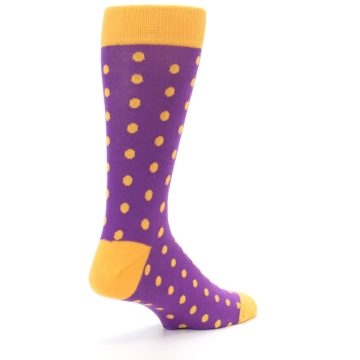 Image of Purple Orange Polka Dots Men's Dress Socks (side-1-back-22)