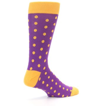 Image of Purple Orange Polka Dots Men's Dress Socks (side-1-23)