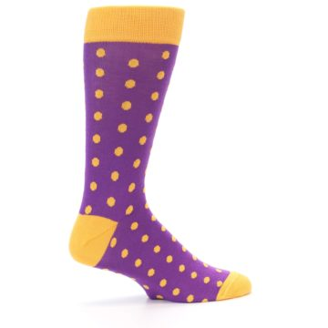 Image of Purple Orange Polka Dots Men's Dress Socks (side-1-24)