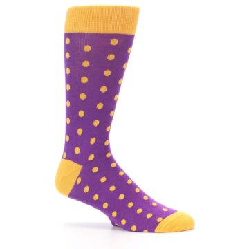 Image of Purple Orange Polka Dots Men's Dress Socks (side-1-25)