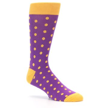 Image of Purple Orange Polka Dots Men's Dress Socks (side-1-26)