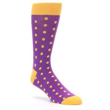 Image of Purple Orange Polka Dots Men's Dress Socks (side-1-27)