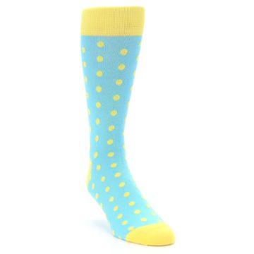 Image of Pool Blue Yellow Polka Dots Men's Dress Socks (side-1-front-02)