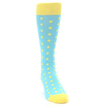 Image of Pool Blue Yellow Polka Dots Men's Dress Socks (side-1-front-03)