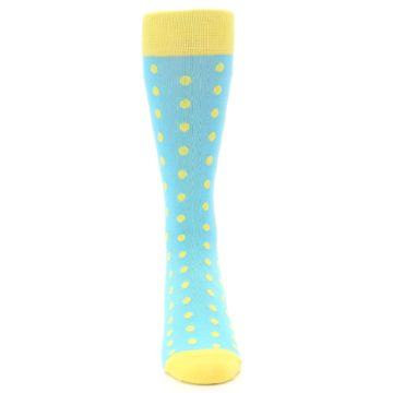 Image of Pool Blue Yellow Polka Dots Men's Dress Socks (front-04)