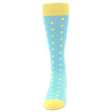 Image of Pool Blue Yellow Polka Dots Men's Dress Socks (front-05)