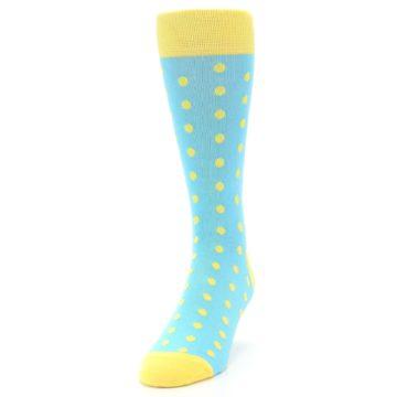 Image of Pool Blue Yellow Polka Dots Men's Dress Socks (side-2-front-06)