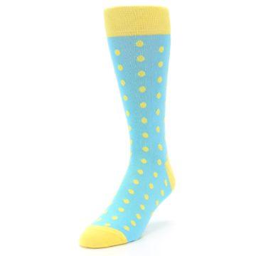 Image of Pool Blue Yellow Polka Dots Men's Dress Socks (side-2-front-07)