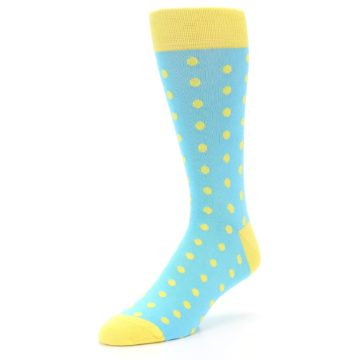 Image of Pool Blue Yellow Polka Dots Men's Dress Socks (side-2-front-08)