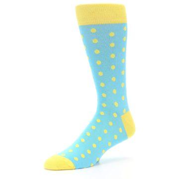 Image of Pool Blue Yellow Polka Dots Men's Dress Socks (side-2-09)