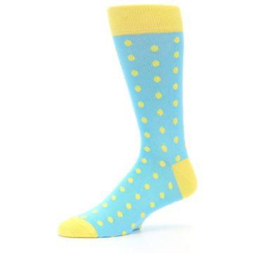 Image of Pool Blue Yellow Polka Dots Men's Dress Socks (side-2-10)