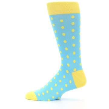 Image of Pool Blue Yellow Polka Dots Men's Dress Socks (side-2-12)
