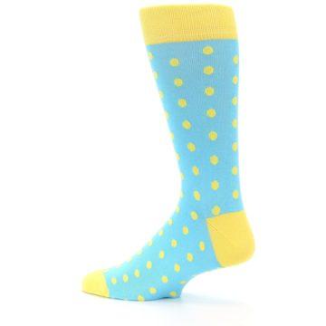 Image of Pool Blue Yellow Polka Dots Men's Dress Socks (side-2-13)